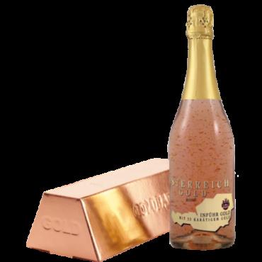 Sampanie cu foite de aur 23 k - Österreich Gold ROSE * 0,75 L * + cutie